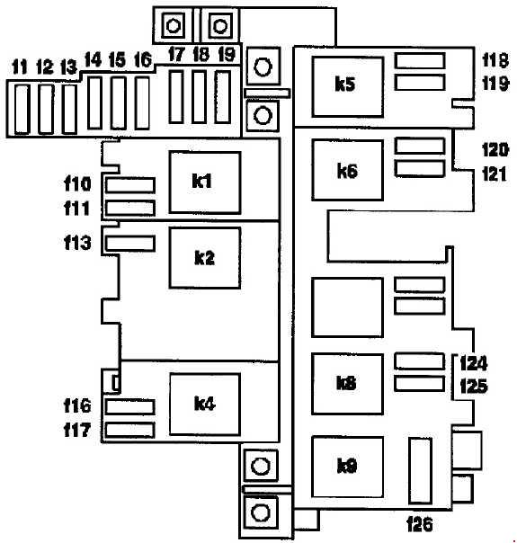 mercedes m-class w163  1997 - 2005  - fuse box diagram