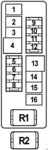 Nissan Teana J31 - fuse box diagram - engine compartment