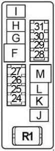 Nissan Altima - fuse box diagram - engine compartment (box 2)