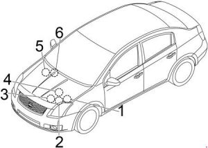 Nissan Sentra - fuse box diagram - engine compartment (location)