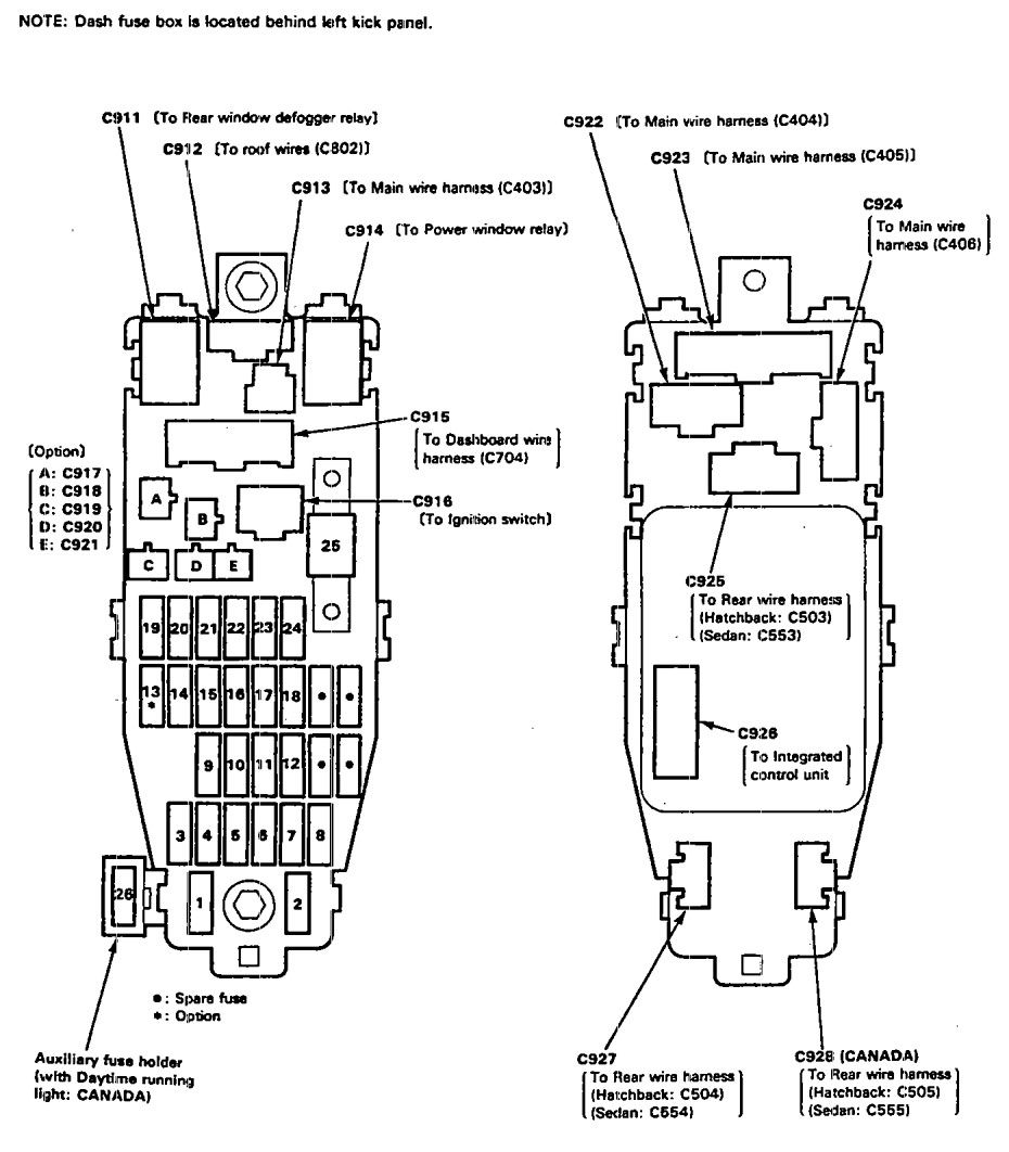 Acura Integra  1992  U2013 1993   U2013 Fuse Box Diagram