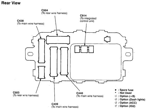 Acura Integra  1998 - 1999   U2013 Fuse Box Diagram