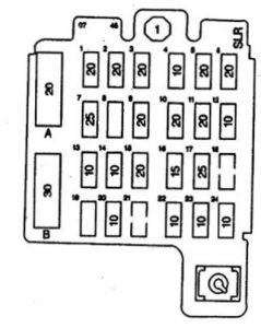 Isuzu Hombre - fuse box diagram - front view