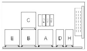 Dacia Solenza - fuse box diagram - engine compartment (with A/C)