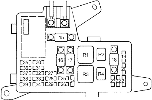 Honda Accord  1990 - 1993  - Fuse Box Diagram