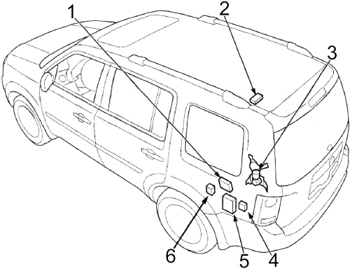 Honda Pilot  2009 - 2015  - Fuse Box Diagram