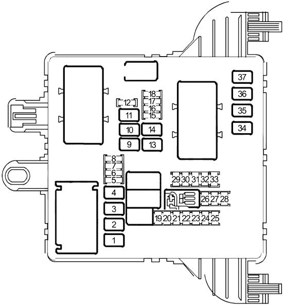 saab 9-5  2010 - 2012  - fuse box diagram