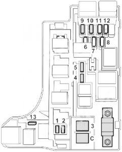 Subaru Legacy - fuse box diagram - engine compartment