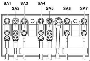 Volkswagen Jetta - fuse box diagram - engine compartment