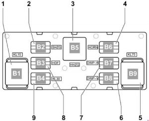 Volkswagen Jetta - fuse box diagram - relay assignment on relay carrier on oboard supply control unit