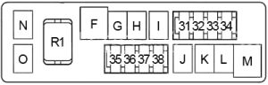 Infiniti G37 - fuse box diagram - engine compartment fuse box no. 2 (type 2)